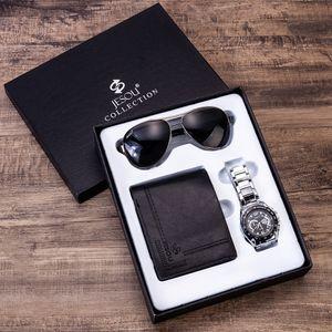 Traje de regalo para hombre Reloj de pulsera con embalaje exquisito + Cartera Gafas de sol Traje Cruel Originality Group Combine Suit Watch Cool