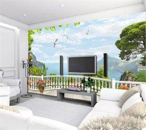 사용자 정의 3D 벽화 벽지 3D 스테레오 유럽 창 발코니 바다 벽화 거실 TV 배경 바운드 벽 벽지