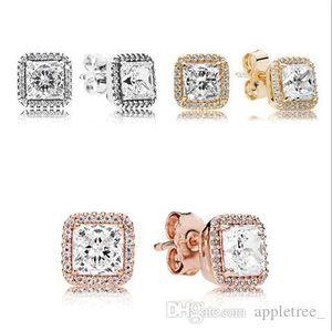925 Sterling Silver Earrings Square CZ Diamond Earring Stud earing ear ring Women womens Jewelry girls ladies Jewellery fashion gift