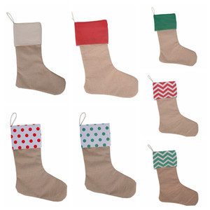 12*18inch Canvas Christmas Stocking Gift Bags Striped Xmas Stockings Plain Burlap Socks Candy Bag Christmas Decorations GGA2505