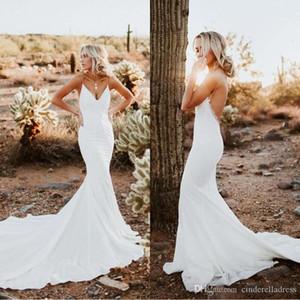 2020 New Sexy País Backless vestidos de casamento da sereia simples correia de espaguetes apliques Sweep Trem Verão Boho vestidos de noiva baratos BC2826