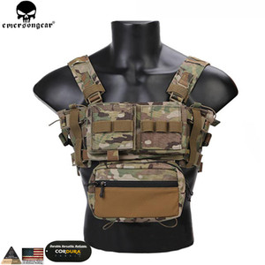 EMERSONGEAR Tactical Chest Rig Micro Kampf chissis MK3 Chest Rig Airsoft Jagd Kampfweste mit 5,56 Mag Pouch Multicam T200610