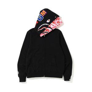 Otoño Invierno Lover Two Cap Black Cardigan Zipper Hoodies Hombres Mujeres Personalidad Color Fleece Zipper Hoodies