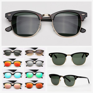 Lenti Mens occhiali da sole Occhiali da sole donna Spiaggia di vetro di Sun Mezza cornice di tartaruga verde vetro Des Lunettes de Soleil