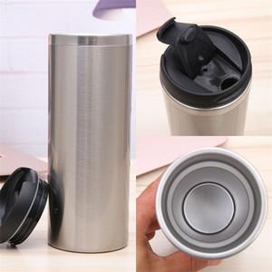 Single White Coffee Cup en acier inoxydable Argent Couleur Gobelets chaleur Coupes en ligne droite revêtement d'isolation Fit dans la voiture 11yk C2