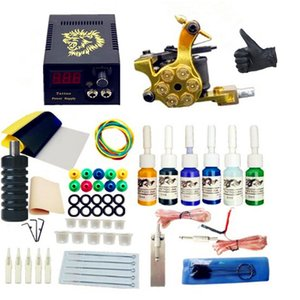 Tattoo Kit Gun 1 Machines 6 Colors Inks Sets Needles LCD Power Supply Tips Grips Tattoo Kit Tattoo Machine Set