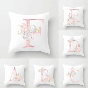 Branco macio super curto Plush Pillow Covers 26 Inglês Letters Árabe Símbolo Numeral Abraço Pillowcase Digital Printing nenhum desvanecimento