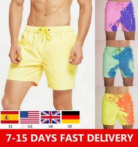 618 Big Sale Newest Men Beach Short Magical Change Color Men Swimming Trunks Swimwear Quick Dry Bathing Shorts Sport Shorts T200606