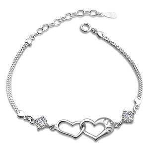 Двойное Сердце Браслет Из Розового Золота Pulsera Ювелирные Изделия Armbanden Bijoux Femme Подарки Подружки Невесты Позолоченные Серебряный Браслет-Цепочка