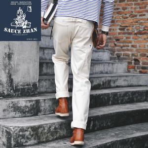 SauceZhan Sz6601-W White Denim Jeans Jeans Denim Hombre orillo para hombre Marca 14.5 OZ