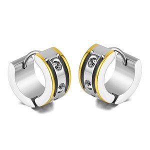 Europe and America Hotsale Men Women Earrings Gold Plated Stainless Steel Rhinestone Earrings for Men Women Nice Gift for Friend