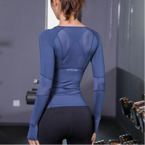 New Designer Summer Tshirts Top Donna Fitness T Shirt Donna Manica lunga Yoga Top Mesh Womens Gym Top Abbigliamento sportivo