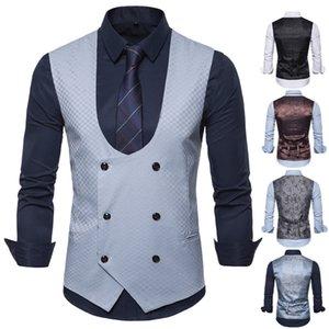 Men's brand new creative personality leisure business fashion suit vest waistcoat men vest plaid casual suit