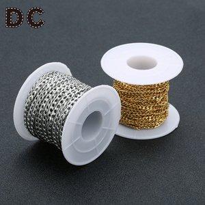 DC 2018 Nueva 3/4/5 mm Anchura de acero inoxidable color oro Cadenas cadena de eslabones para Makings collares pulseras DIY joyería 10yards / roll