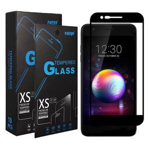 Gehärtetes glas für lg k40 aristo 3 aristo 2 plus lv3 tribut reich g7 g8 thinq v50 full cover schwarz displayschutzfolie
