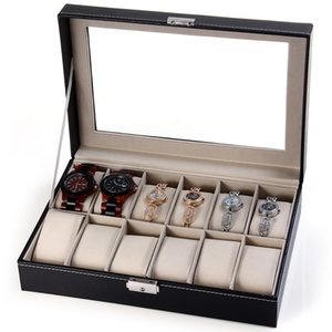 Watch Jewelry Storage Case 12 Grids PU Leather Display Box for Bracelet Shop Jewelry Wrist Watches Holder Display Storage Box