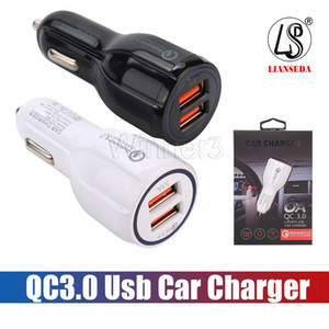 Top Quality QC3.0 Fast Charge 3.1A Qualcomm Quick Charge carregador de carro Dual USB carregamento rápido carregador de telefone + Cable