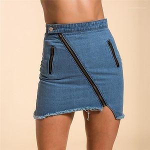 Skirt Solid Color Printed High Waist Zipper Pocket Tassel Skirts Fashion Female Clothing Summer Womens Denim