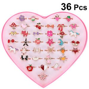 36 шт Alloy мультфильм кольцо Красочная Прекрасная Регулируемые ювелирные подарки сувениры партия игрушка для детей Детские девочек