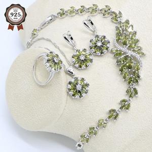Verde oliva circón de plata 925 Juego de joyería de las mujeres pendientes de la pulsera de boda anillos colgante collar de regalo de cumpleaños libre de la caja