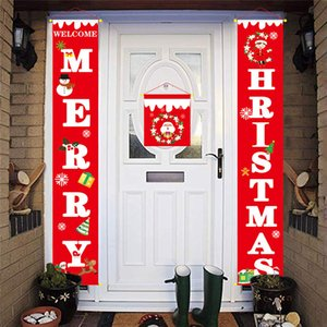 Новые рождественские украшения висит флаги для торгового центра ворота веселые рождественские двери висит украшения крытый Открытый дом двери дисплей куплеты