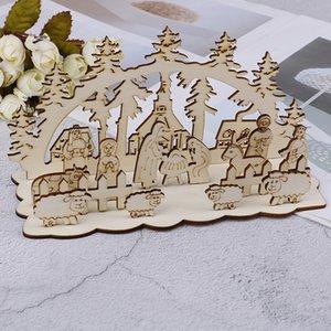 Nouvelle décoration de Noël à venir artisanat en bois de style bricolage de jardin ornements de décoration de table personnalisés ornements en trois dimensions