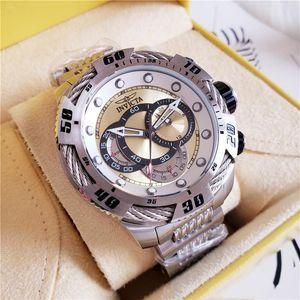 20 yu Schweizer Marke INVICTA LOGO Very Large Rotating Dial Superqualität Mann-Uhr-Marke Wolframstahl-Multi-Funktion Gold-Quarz-Uhren