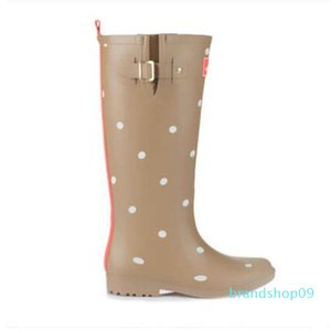 Hot Sale-g Polka Dot Ladies Rubber MIid-Calf Heels Waterproof Buckle Rainboots 2016 New Fashion Design Women Dot Rain076