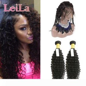 Indian 360 Lace Frontal With Bundles Deep Wave Curly 3 Pieces lot Virgin Human Hair Pre Plucked Baby Hair Lace Frontal With 2 Bundles