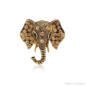 Retro Vintage Elephant Brooch Pin 4.2*3.9cm Cute Animal Rhinestone Crystal Suit Lapel Pin for Women Girls Jewelry Accessories Gift