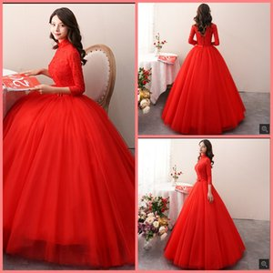 2019 Robe de Mariage red lace ball gown high neck wedding dress 3 4 sleeve hollow back sexy croset cheap bride gowns hot sale bride dresses