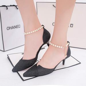 Lucky2019 unique femme Zhonggen Xia une boucle apporter une chaîne de perles amende avec chaussure de travail confortable Sharp Paillette