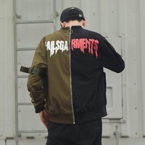iiDossan 2020 Casual Patchwork Coats Homens Carta Imprimir Hiphop Homens Jackets Marca Streetwear manga comprida Tops Roupa Regular Fit