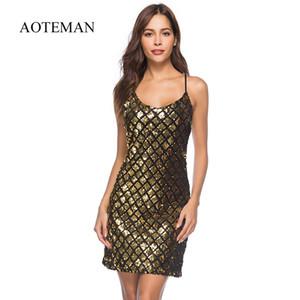 Aoteman Sommerkleid Frauen Neue Sexy Dünne Gold Pailletten Vintage Mini Kleid Weibliche Elegante Schulterfrei Party Club Kleider Vestidos S415