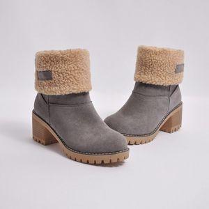 Schnee-Stiefel Winter-Frauen der Schuhe, Outdoor-Warmhaltepelzstiefel starke Ferse mit runden Kopf kurzer Stiefel Fashion Wolle Mid Heel-Schuhen