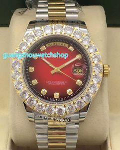 골드 투톤 빅 다이아몬드 시계 prong set diamond mens 시계 Day - Date President 자동식 스테인레스 스틸 손목 시계