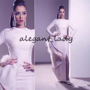 Ashi Studio Pena Branca Longo Sereia Dividir Vestidos de Noite de Alta Neck Mangas Compridas de Luxo Muçulmano Árabe Ocasião Prom Vestido
