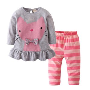 Baby Girls Clothing Set Autumn Cotton Long Sleeve Cartoon Cat Tops+Pink Striped Pants Newborn 2Pcs Casual Toddler Clothes Outfit