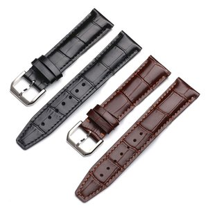 20 21 22mm Noir Marron Bracelet Bambou Grain véritable Bracelet de montre en cuir bande d'argent en acier inoxydable Ardillon pour le Portugal Pilotes