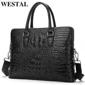 crocodilo luxo saco do escritório dos homens Westal genuína pasta de couro padrão para documentos homens de couro laptop saco de prote 17623