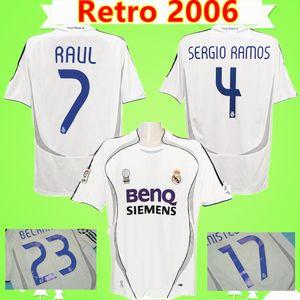 #7 Raul #9 Ronaldo #23 Beckham Retro 06 07 Real Madrid Soccer Jersey Vintage 2006 2007 Football Shirt Cannavaro Marcelo Higuain Camiseta