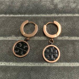 2020 nuova moda in titanio acciaio 316L modo di alta qualità in oro rosa nozze nero orecchini del cerchio del cerchio per i gioielli amanti matrimonio Donne