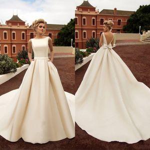 Vintage Country атласное свадебное платье с карманами Backless смычка Boho пляж линия Backless свадебное платье свадебное платье