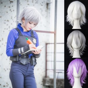 DIANQI 30 cm short straight hair black white purple blue red high temperature fiber synthetic wigs costume party cosplay wig