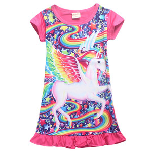 Girl Unicorn Pajamas dresses Baby Kids Girls Casual Dress Unicorn Cartoon Nightgown Dress Children night skirts 2 Colors
