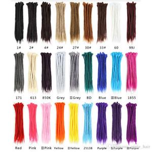 Dreadlocks Hair Extensions Crochet cheveux Kanekalon synthétique cheveux 1Strands Dreadlock pour les femmes et les hommes de 20 pouces Pure Color gros