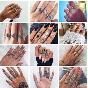 20 estilos Vintage Charm Midi Finger Knuckle Ring Set para las mujeres del partido Boho Crystal Wing Rings pequeña joyería de regalo ALXX