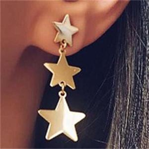 Estrelas de borla brincos retro Geometry Fringe Brinco Glittering Liga Cinco pontas estrela Studs meninas jóias