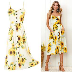 New Fashion Donne Strap Dress Casual Dress Vintage Flower Print Party Club Boemia V-Neck Sexy Maxi Dress Black Casual Dresses S-3XL