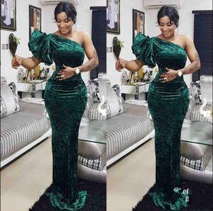 Eine Schulter elegante grüne Abendkleider Velet Fußboden Länge nach Maß South African 2020 Mermaid Prom Dresss Vestido De Festo